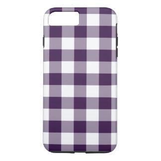紫色及び白いギンガムパターンiPhone 7のプラスの場合 iPhone 8 Plus/7 Plusケース