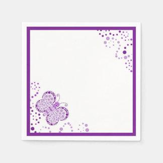 紫色及び白い蝶点描のカスタム スタンダードカクテルナプキン