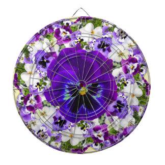 紫色及び白の春のパンジーのヴィグネット ダーツボード