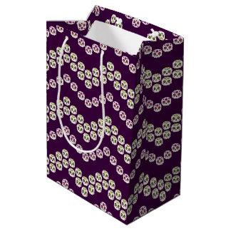 紫色及び緑のシェブロンの砂糖のスカル ミディアムペーパーバッグ