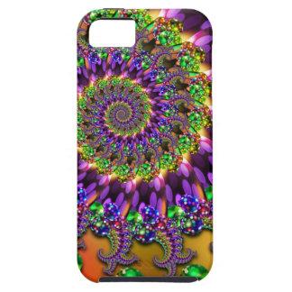 紫色及び緑の《写真》ぼけ味のフラクタルパターン iPhone 5 カバー
