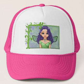 紫色及び緑のFaeryピクセル芸術 キャップ