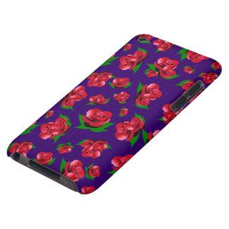紫色及び赤いバラパターン Case-Mate iPod TOUCH ケース