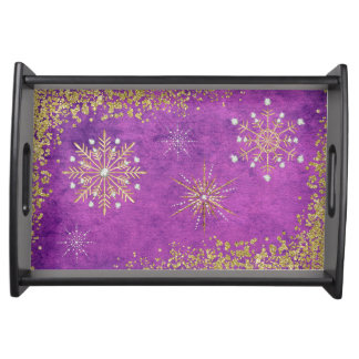 紫色及び金ゴールドのクリスマスの雪片 トレー