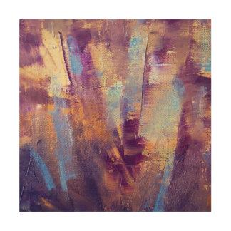 紫色及び金ゴールドは金属油絵を抽出します ウッドウォールアート