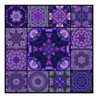 紫色及び青のアイリス花の花びら、モザイクモンタージュ ポスター