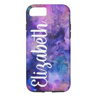 紫色及び青のボヘミアインク(ばちゃばちゃ)跳ねる及び名前 iPhone 8/7ケース