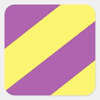 紫色及び黄色のストライプ スクエアシール