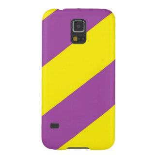 紫色及び黄色のストライプ GALAXY S5 ケース