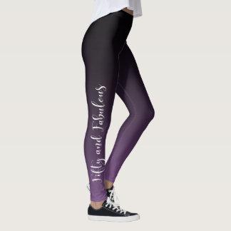 紫色及び黒いグラデーションの50及びすばらしい白 レギンス