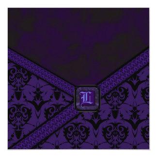 紫色及び黒いゴシックのレースの結婚式 カード