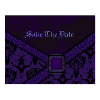 紫色及び黒いゴシックのレースの結婚式 ポストカード