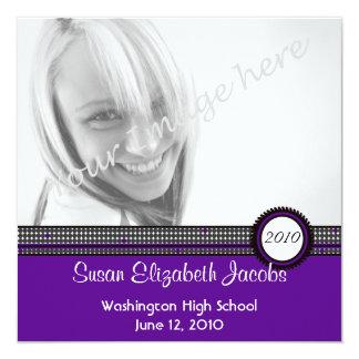 紫色及び黒の招待の卒業パーティー 13.3 スクエアインビテーションカード