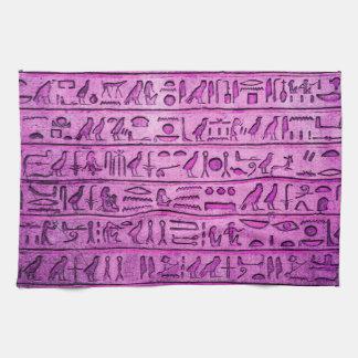 紫色古代エジプトのヒエログリフ キッチンタオル