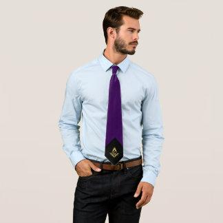 紫色名前入りなフリーメーソンのネクタイ および金ゴールド ネクタイ