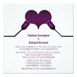 紫色愛つながりUSBの結婚式招待状 カード