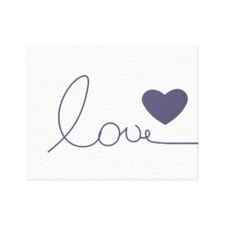 紫色愛ハート キャンバスプリント