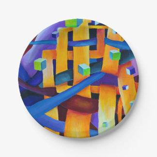 紫色抽象芸術の立方体 ペーパープレート