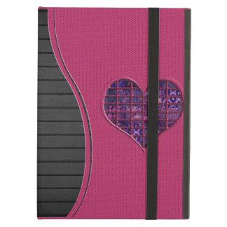 紫色材料とのピンクの粋でガーリーなハート iPad AIRケース