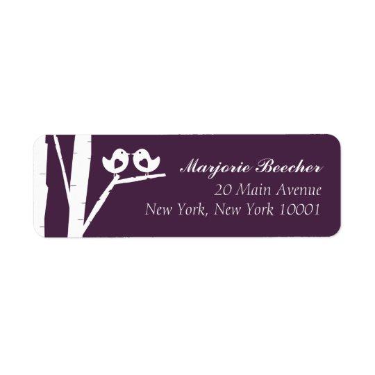 紫色樺の木の鳥の宛名ラベル 返信用宛名ラベル
