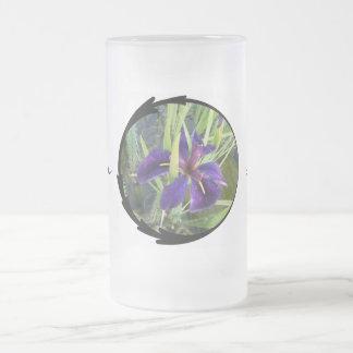 紫色水アイリス フロストグラスビールジョッキ