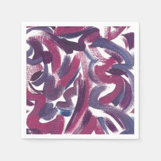 紫色渦巻手によって絵を描かれる抽象的なパターン スタンダードカクテルナプキン