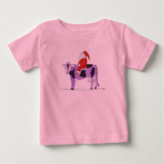 紫色牛のサンタ ベビーTシャツ