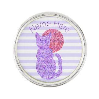 紫色猫および月の猫好きのネコ科の子ネコ ラペルピン