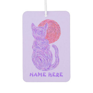 紫色猫および月の猫好きの子ネコ カーエアーフレッシュナー