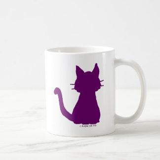 紫色猫のシルエット コーヒーマグカップ