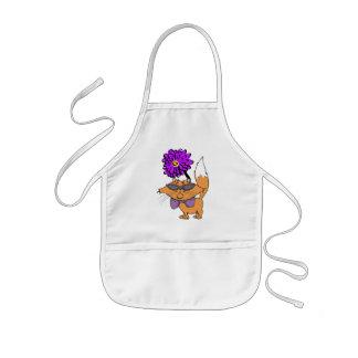 紫色猫の男 子供用エプロン