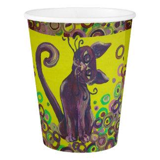 紫色猫の紙コップ 紙コップ