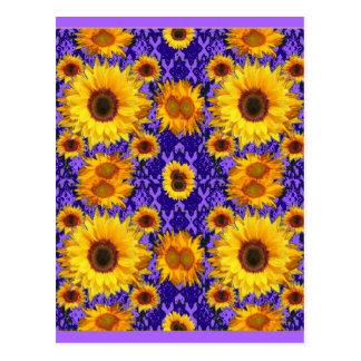 紫色色のギフトの黄色いヒマワリ ポストカード