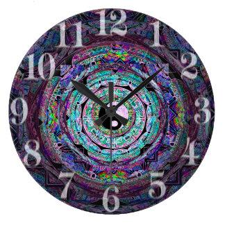 紫色色の陰陽の曼荼羅 ラージ壁時計
