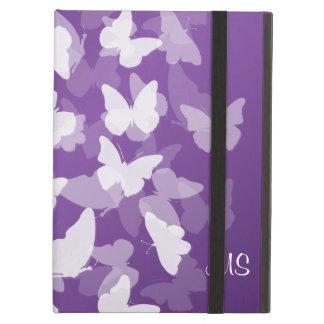 紫色蝶カスタムなイニシャル iPad AIRケース