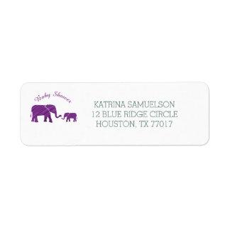 紫色象のベビーシャワー ラベル