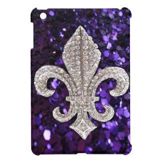 紫色輝きの宝石の(紋章の)フラ・ダ・リのスパンコール iPad MINIケース
