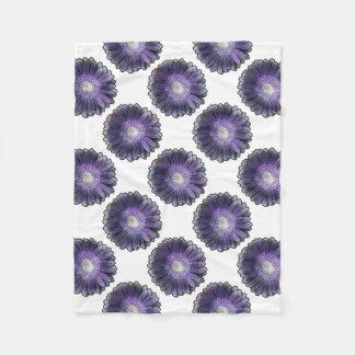 紫色雨ガーベラ フリースブランケット