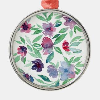 、紫色青い、自由な花柄-緑のつる植物の緑の草木 メタルオーナメント