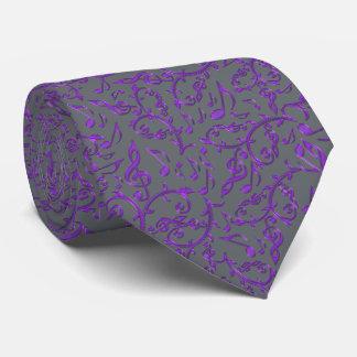 紫色音楽はカスタマイズ可能な色のタイに注意します オリジナルネクタイ