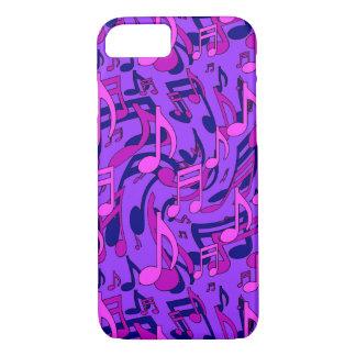 紫色音楽パターンピンクの音符 iPhone 8/7ケース
