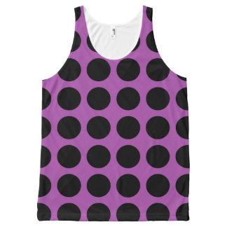 紫色黒い水玉模様 オールオーバープリントタンクトップ