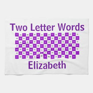 紫色2文字の単語および白いIntrl。 版 キッチンタオル