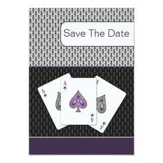 紫色3のエースのベガスの結婚式の保存日付 カード