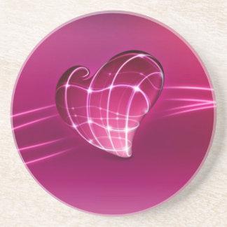 紫色3d愛ハート コースター