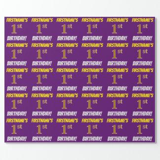 """紫色、のどまたは模造金ゴールド、""""第1誕生日"""" ラッピングペーパー"""