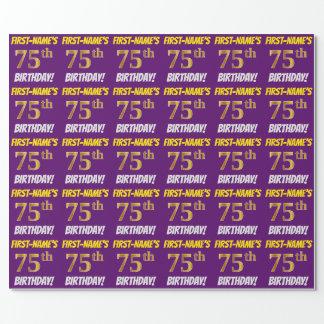 """紫色、のどまたは模造金ゴールド、""""第75誕生日"""" ラッピングペーパー"""