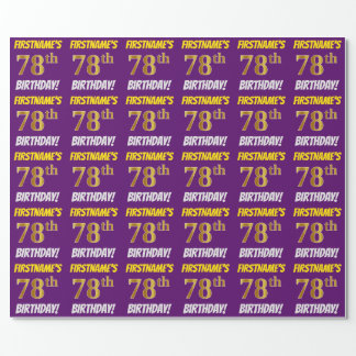 """紫色、のどまたは模造金ゴールド、""""第78誕生日"""" ラッピングペーパー"""