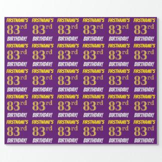 """紫色、のどまたは模造金ゴールド、""""第83誕生日"""" ラッピングペーパー"""