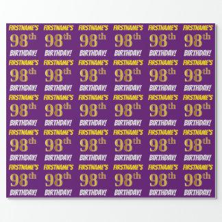 """紫色、のどまたは模造金ゴールド、""""第98誕生日"""" ラッピングペーパー"""